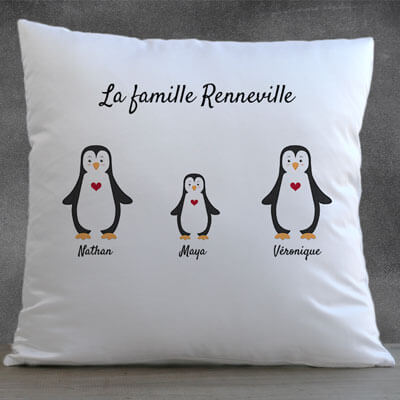 Coussin Famille Pingouin