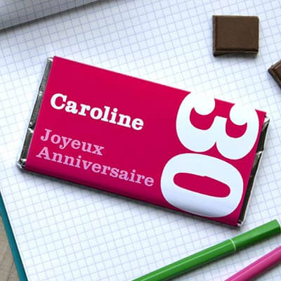 Tablette de chocolat anniversaire Rose